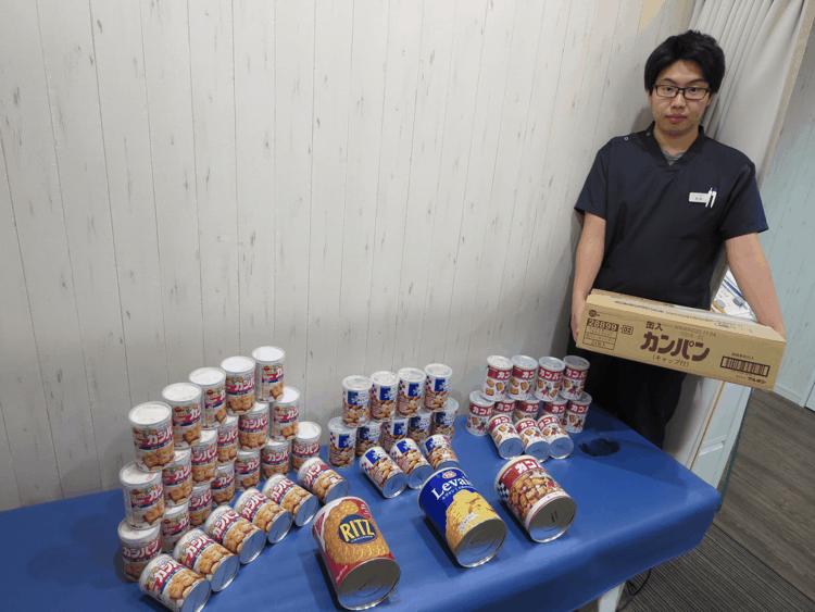 みどり堂整骨院内に備蓄されている食料(カンパン)の写真