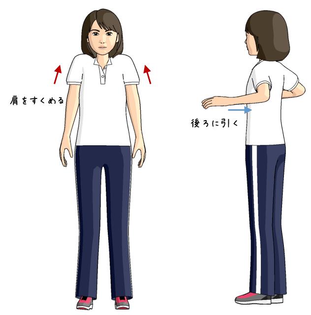 首から肩の筋肉のトレーニングをする女性のイラスト