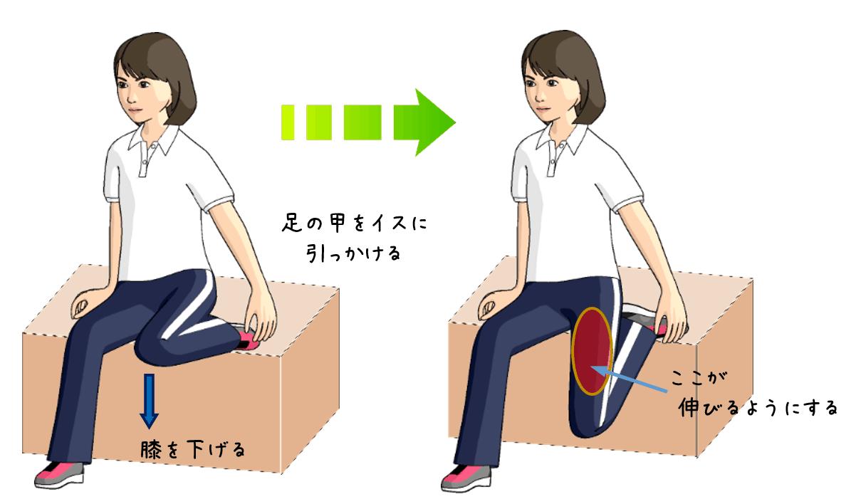 太ももの前をストレッチをする女性のイラスト