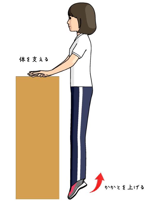 立ってふくらはぎのトレーニングをする女性のイラスト