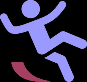 滑って転びそうな人のイラスト