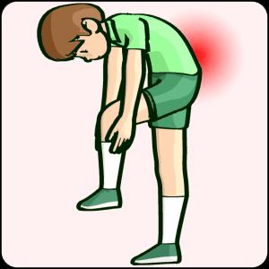 靴下を履く動作で腰痛を感じる女性